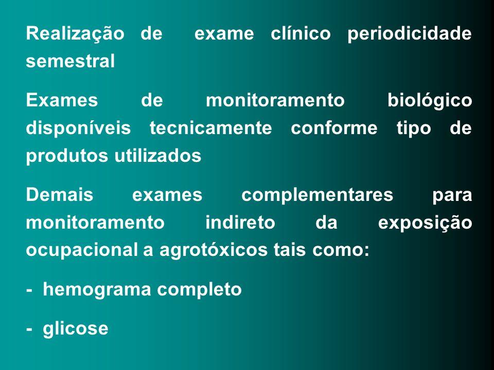 Realização de exame clínico periodicidade semestral Exames de monitoramento biológico disponíveis tecnicamente conforme tipo de produtos utilizados De