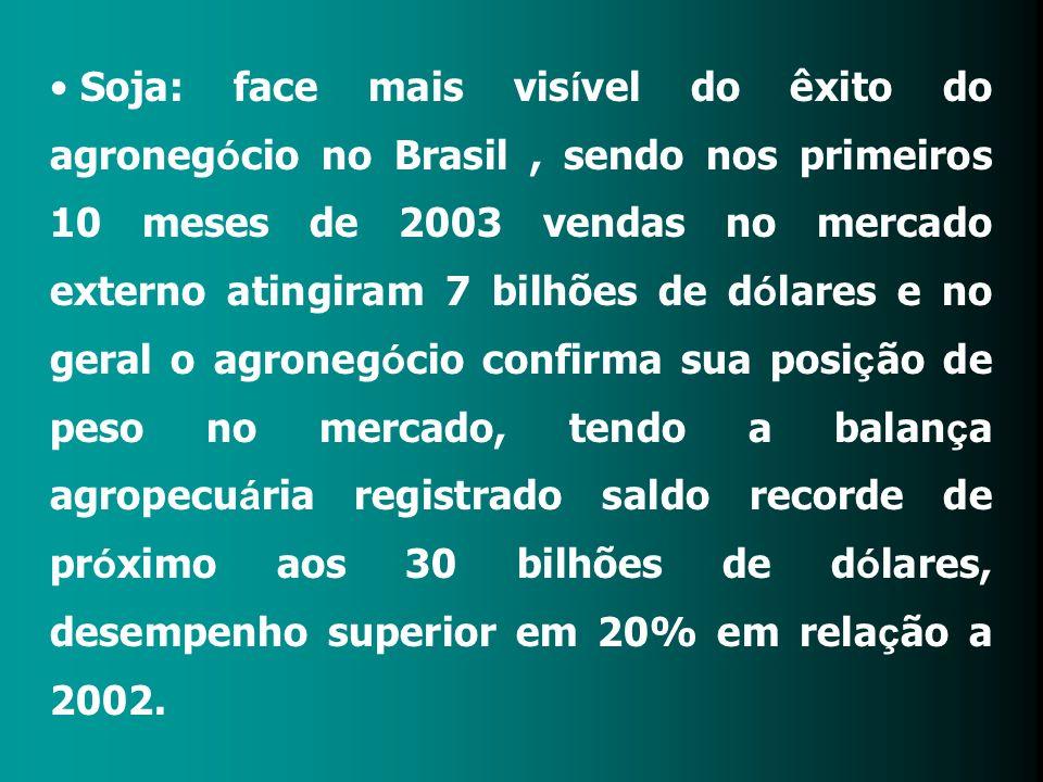 Soja: face mais vis í vel do êxito do agroneg ó cio no Brasil, sendo nos primeiros 10 meses de 2003 vendas no mercado externo atingiram 7 bilhões de d