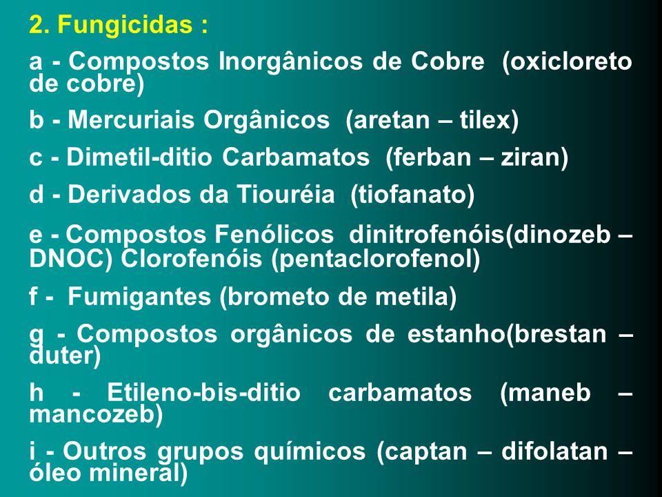 2. Fungicidas : a - Compostos Inorgânicos de Cobre (oxicloreto de cobre) b - Mercuriais Orgânicos (aretan – tilex) c - Dimetil-ditio Carbamatos (ferba