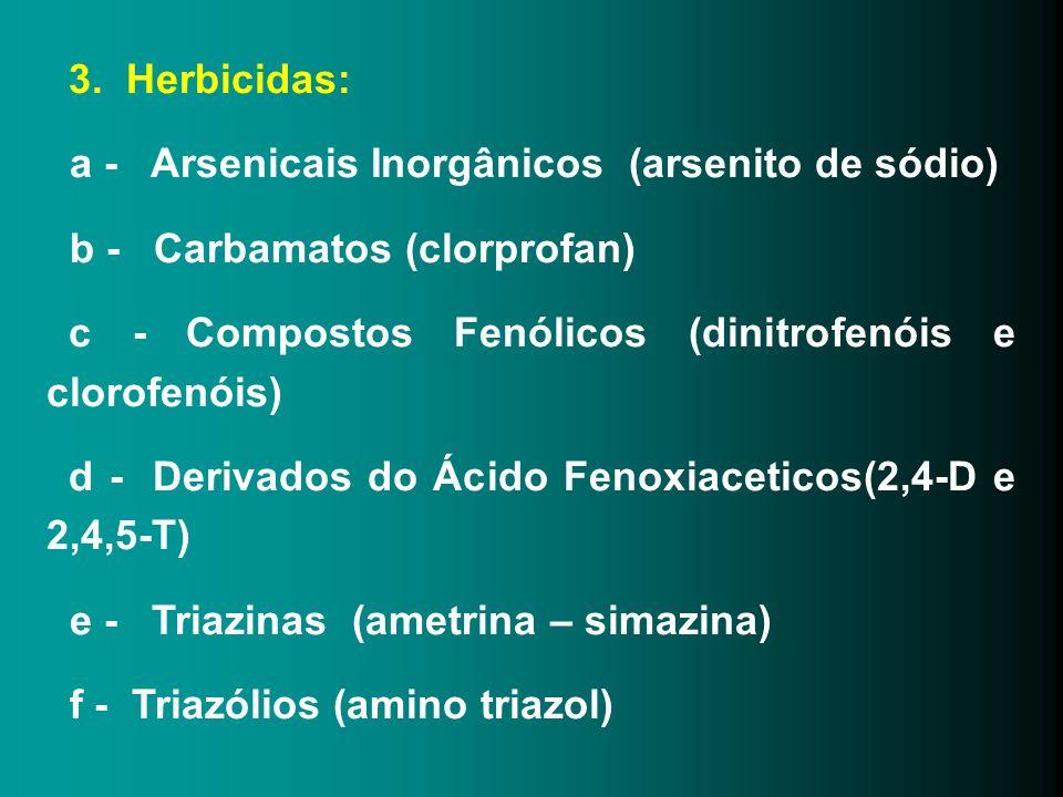3. Herbicidas: a - Arsenicais Inorgânicos (arsenito de sódio) b - Carbamatos (clorprofan) c - Compostos Fenólicos (dinitrofenóis e clorofenóis) d - De