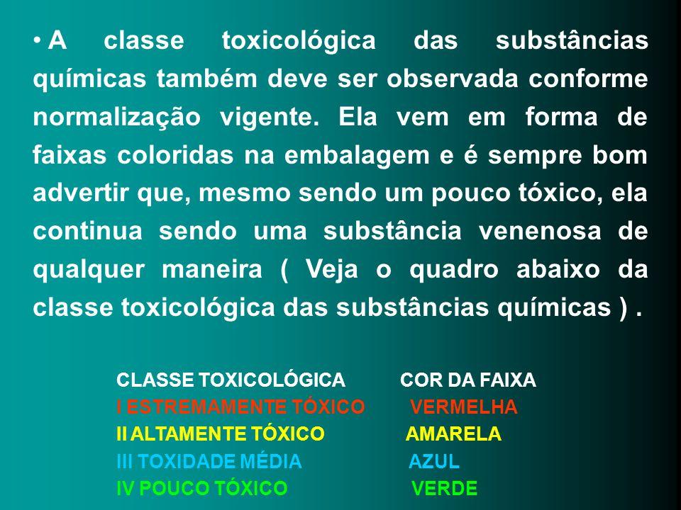 A classe toxicológica das substâncias químicas também deve ser observada conforme normalização vigente. Ela vem em forma de faixas coloridas na embala