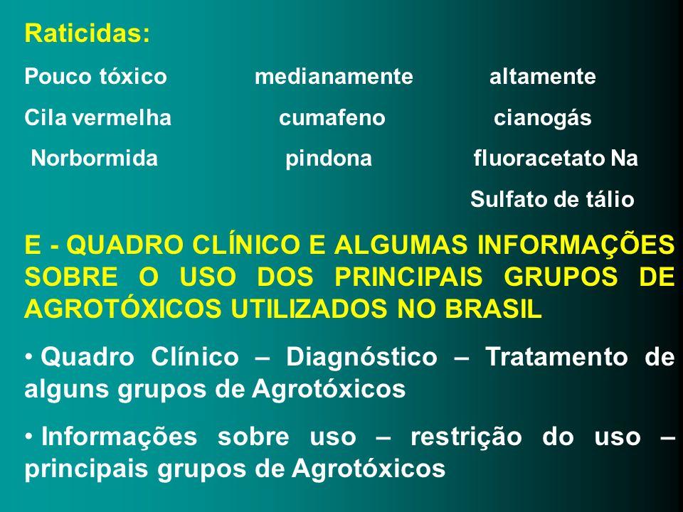 Raticidas: Pouco tóxico medianamente altamente Cila vermelha cumafeno cianogás Norbormida pindona fluoracetato Na Sulfato de tálio E - QUADRO CLÍNICO