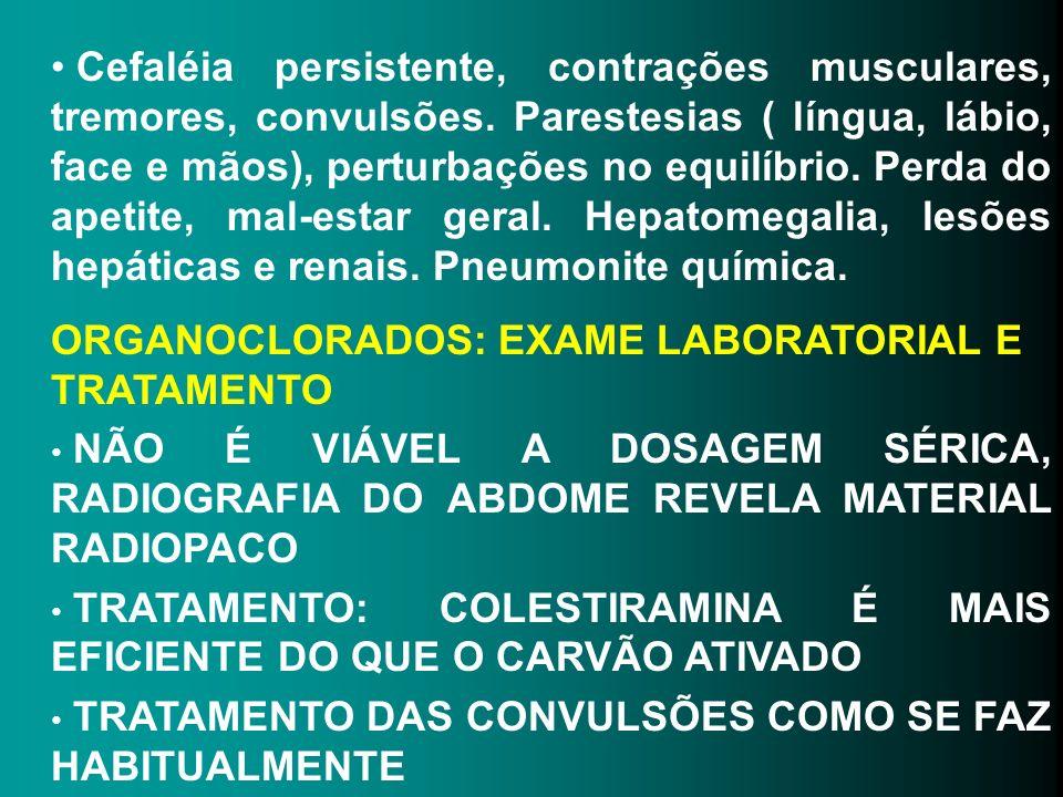 Cefaléia persistente, contrações musculares, tremores, convulsões. Parestesias ( língua, lábio, face e mãos), perturbações no equilíbrio. Perda do ape