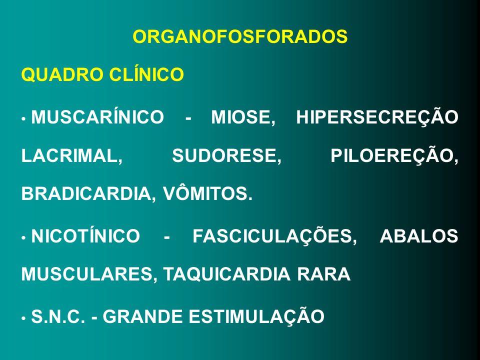 ORGANOFOSFORADOS QUADRO CLÍNICO MUSCARÍNICO - MIOSE, HIPERSECREÇÃO LACRIMAL, SUDORESE, PILOEREÇÃO, BRADICARDIA, VÔMITOS. NICOTÍNICO - FASCICULAÇÕES, A