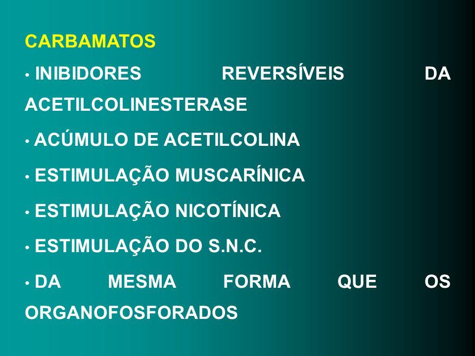 CARBAMATOS INIBIDORES REVERSÍVEIS DA ACETILCOLINESTERASE ACÚMULO DE ACETILCOLINA ESTIMULAÇÃO MUSCARÍNICA ESTIMULAÇÃO NICOTÍNICA ESTIMULAÇÃO DO S.N.C.