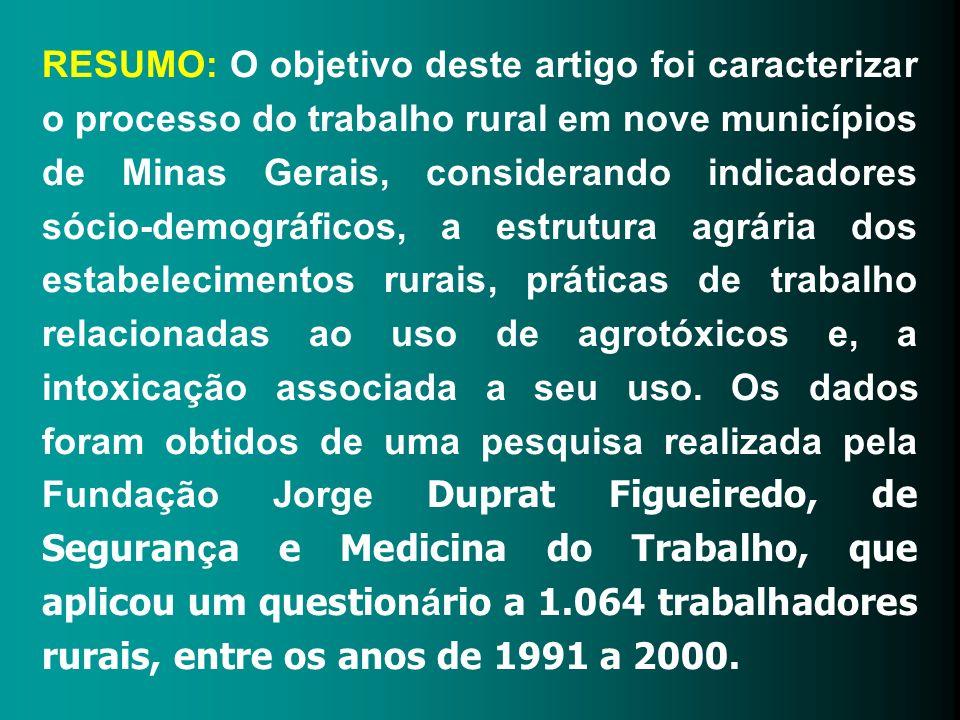 RESUMO: O objetivo deste artigo foi caracterizar o processo do trabalho rural em nove municípios de Minas Gerais, considerando indicadores sócio-demog