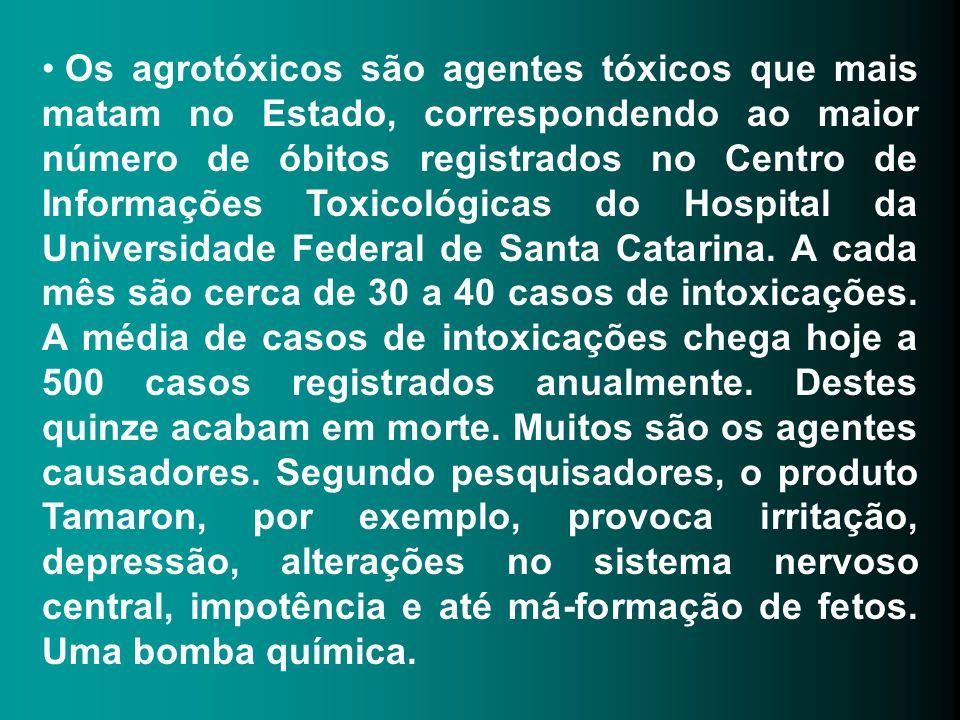 Os agrotóxicos são agentes tóxicos que mais matam no Estado, correspondendo ao maior número de óbitos registrados no Centro de Informações Toxicológic