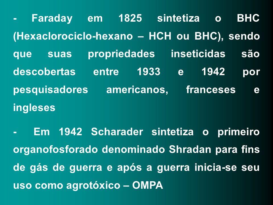 Acaricidas : pouco tóxico medianamente altamente omite dicofol dinocap Fungicidas: Pouco tóxico medianamente altamente Sais de cobre tiran compostos mercuriais Herbicidas : Pouco tóxico medianamente altamente Ametrina bentiocarb arsenito de sódio Simazina 2,4-D e 2,4,5-T paraquat