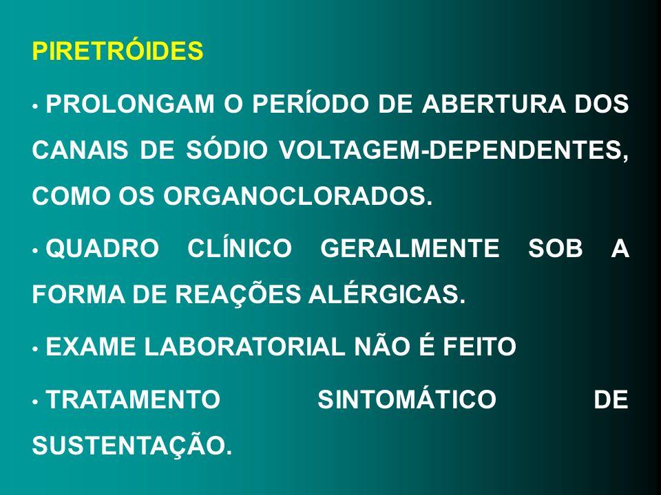 PIRETRÓIDES PROLONGAM O PERÍODO DE ABERTURA DOS CANAIS DE SÓDIO VOLTAGEM-DEPENDENTES, COMO OS ORGANOCLORADOS. QUADRO CLÍNICO GERALMENTE SOB A FORMA DE
