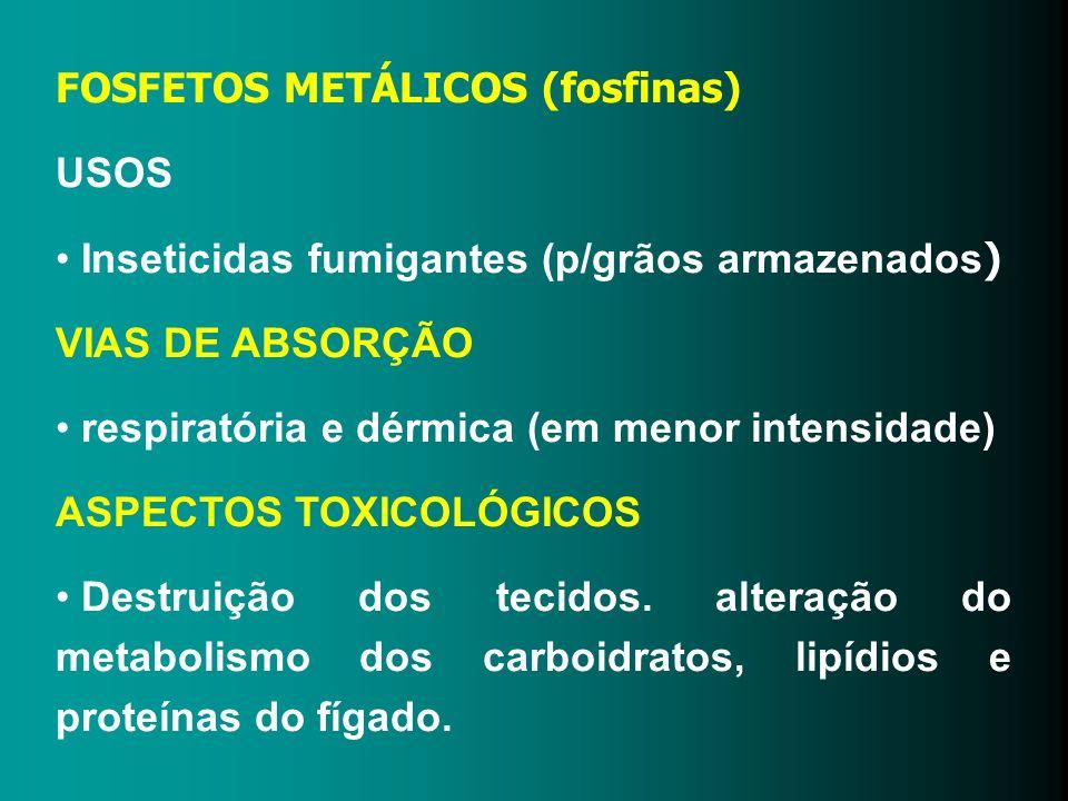 FOSFETOS METÁLICOS (fosfinas) USOS Inseticidas fumigantes (p/grãos armazenados ) VIAS DE ABSORÇÃO respiratória e dérmica (em menor intensidade) ASPECT