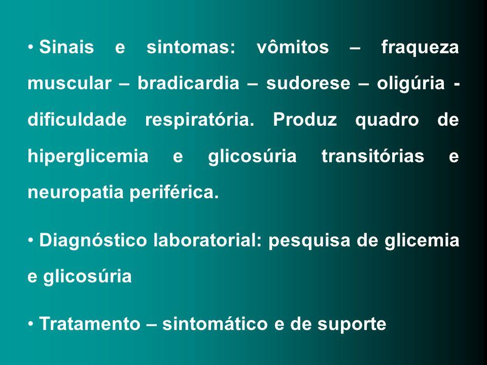 Sinais e sintomas: vômitos – fraqueza muscular – bradicardia – sudorese – oligúria - dificuldade respiratória. Produz quadro de hiperglicemia e glicos