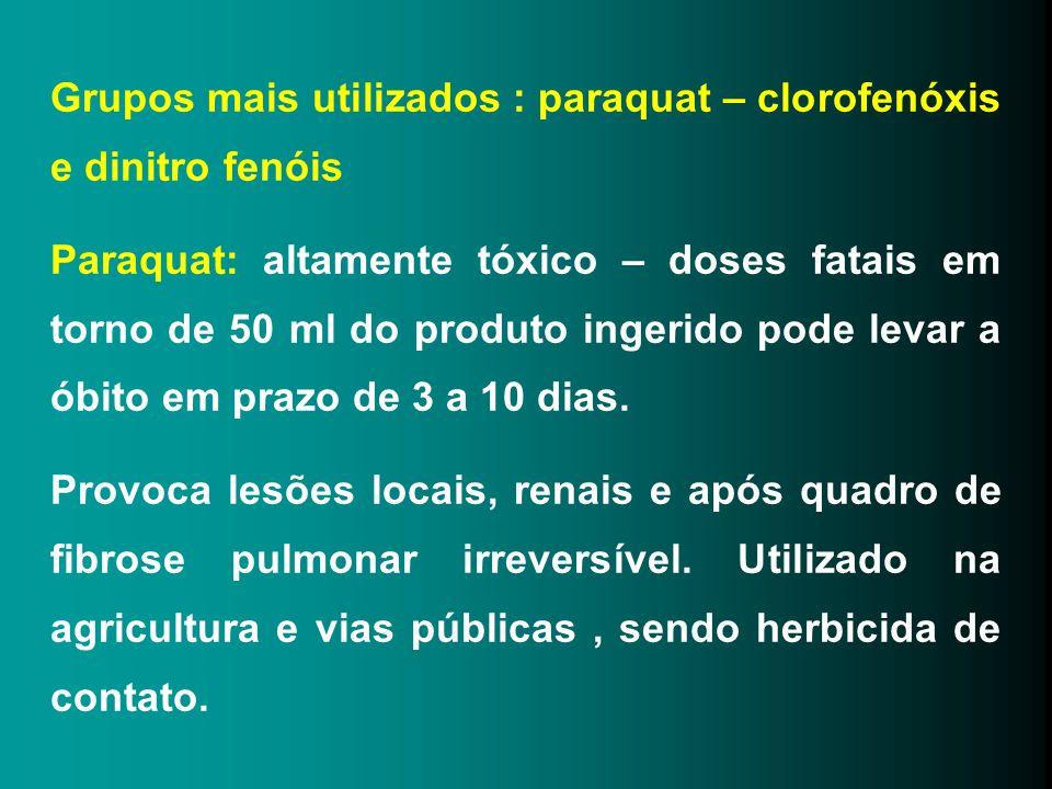 Grupos mais utilizados : paraquat – clorofenóxis e dinitro fenóis Paraquat: altamente tóxico – doses fatais em torno de 50 ml do produto ingerido pode