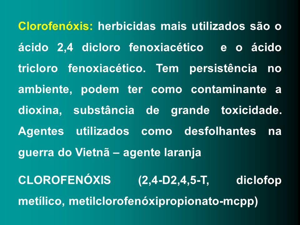 Clorofenóxis: herbicidas mais utilizados são o ácido 2,4 dicloro fenoxiacético e o ácido tricloro fenoxiacético. Tem persistência no ambiente, podem t