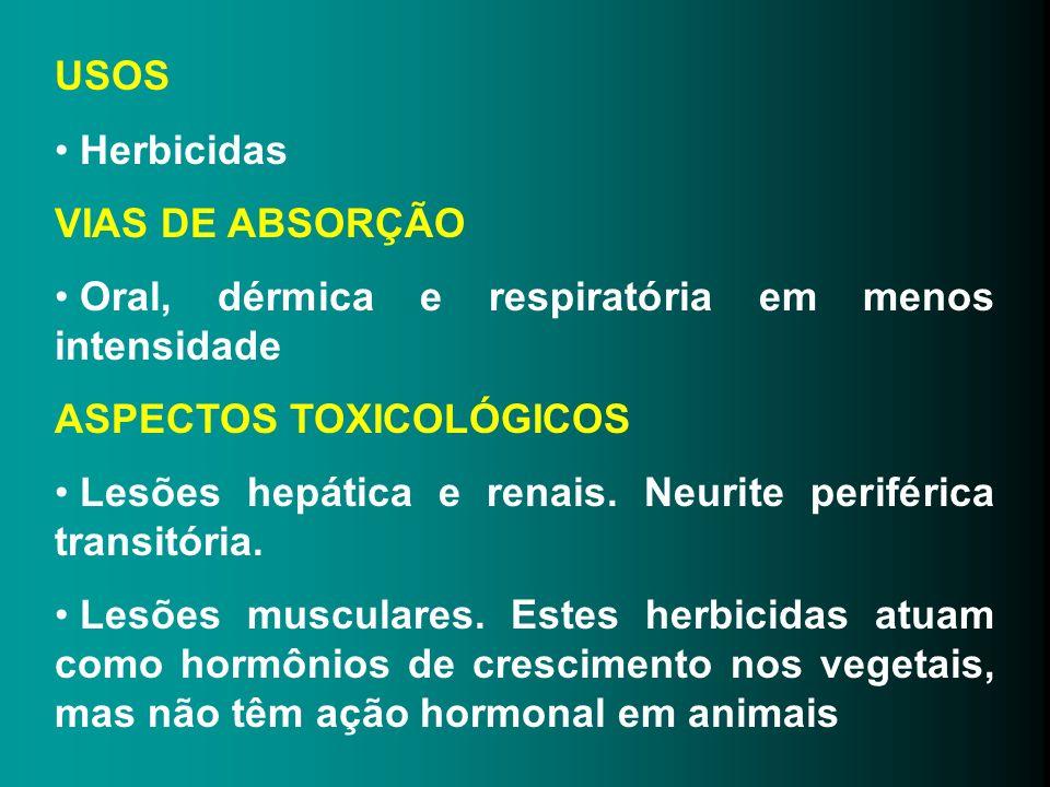 USOS Herbicidas VIAS DE ABSORÇÃO Oral, dérmica e respiratória em menos intensidade ASPECTOS TOXICOLÓGICOS Lesões hepática e renais. Neurite periférica