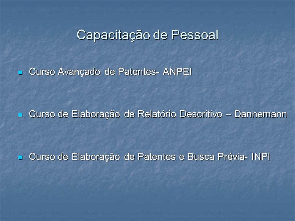 Capacitação de Pessoal Curso Avançado de Patentes- ANPEI Curso Avançado de Patentes- ANPEI Curso de Elaboração de Relatório Descritivo – Dannemann Cur