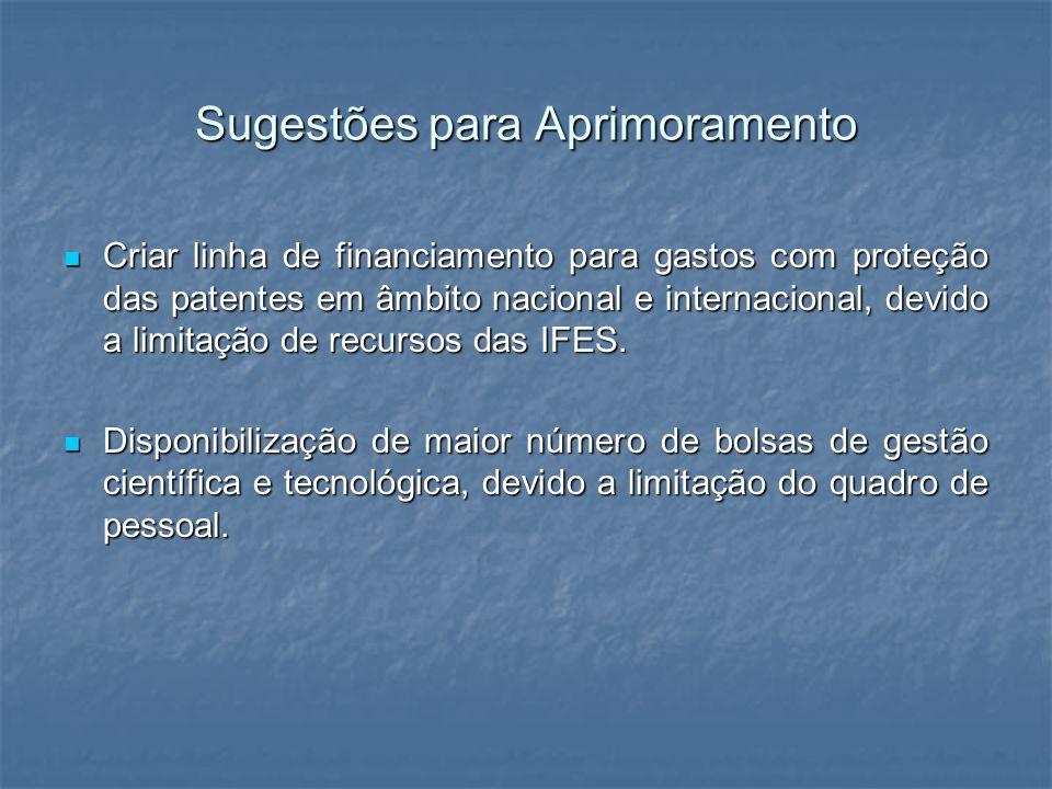 Sugestões para Aprimoramento Criar linha de financiamento para gastos com proteção das patentes em âmbito nacional e internacional, devido a limitação