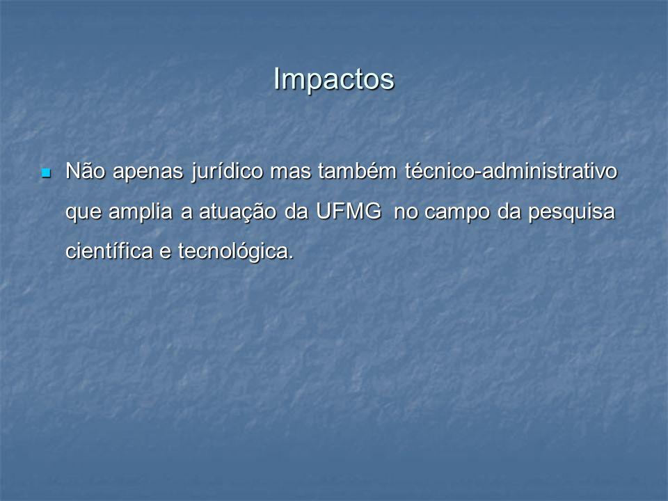 Impactos Não apenas jurídico mas também técnico-administrativo que amplia a atuação da UFMG no campo da pesquisa científica e tecnológica. Não apenas
