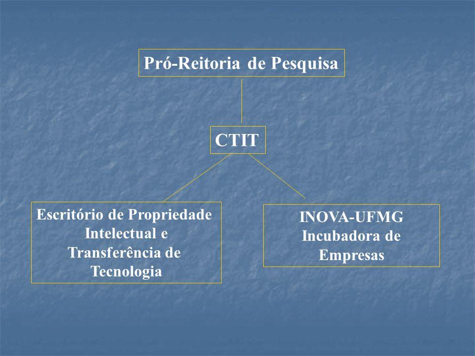 Pró-Reitoria de Pesquisa CTIT Escritório de Propriedade Intelectual e Transferência de Tecnologia INOVA-UFMG Incubadora de Empresas