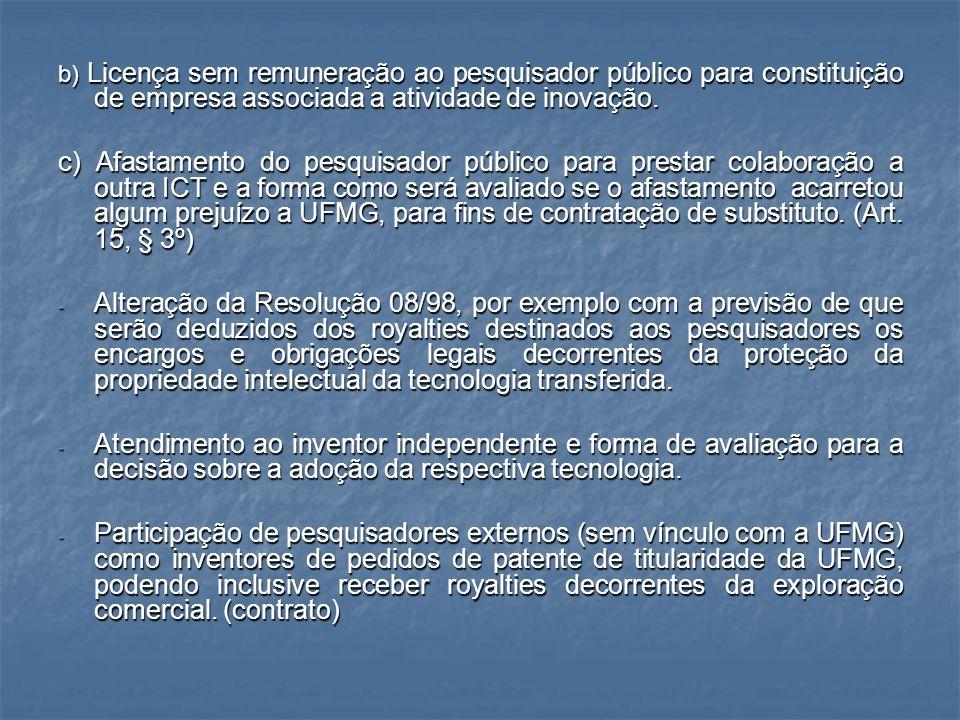 b) Licença sem remuneração ao pesquisador público para constituição de empresa associada a atividade de inovação. c) Afastamento do pesquisador públic