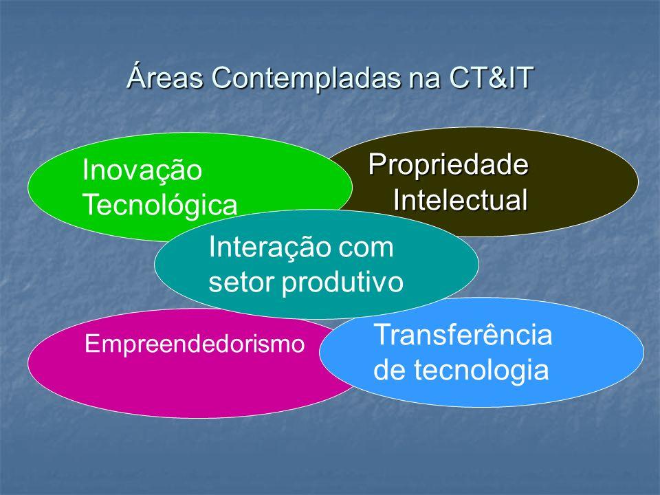 Áreas Contempladas na CT&IT Propriedade Intelectual Empreendedorismo Inovação Tecnológica Transferência de tecnologia Interação com setor produtivo