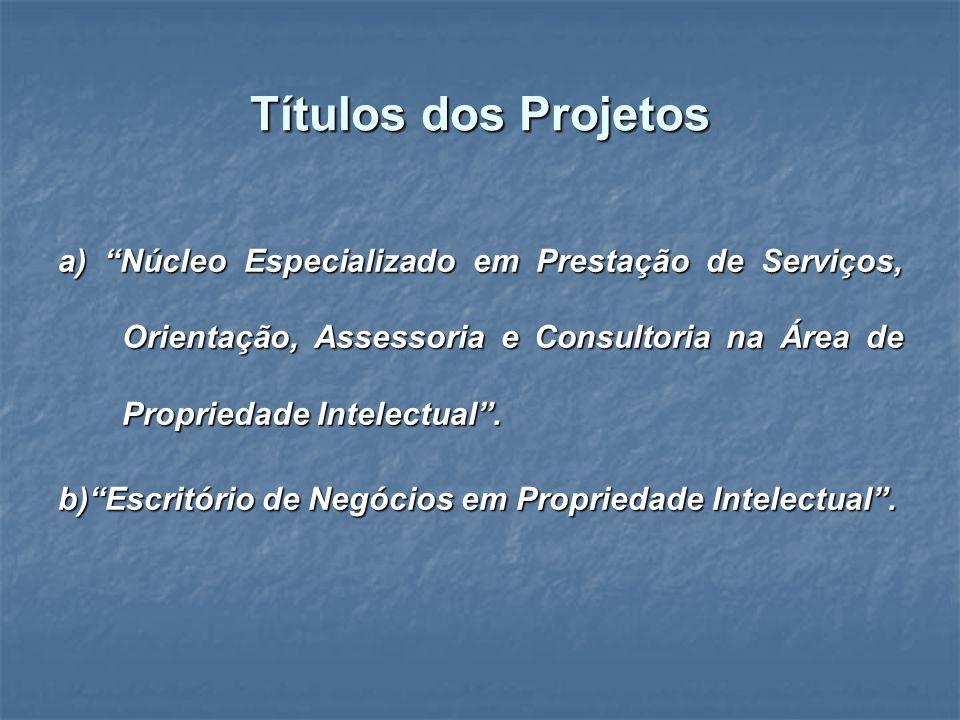 Títulos dos Projetos a) Núcleo Especializado em Prestação de Serviços, Orientação, Assessoria e Consultoria na Área de Propriedade Intelectual. b)Escr
