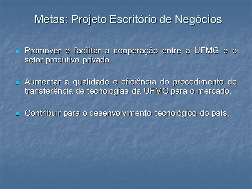 Metas: Projeto Escritório de Negócios Promover e facilitar a cooperação entre a UFMG e o setor produtivo privado. Promover e facilitar a cooperação en