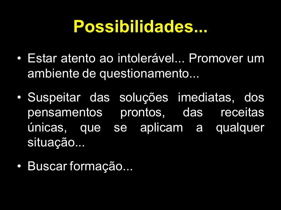 Possibilidades... Estar atento ao intolerável... Promover um ambiente de questionamento... Suspeitar das soluções imediatas, dos pensamentos prontos,