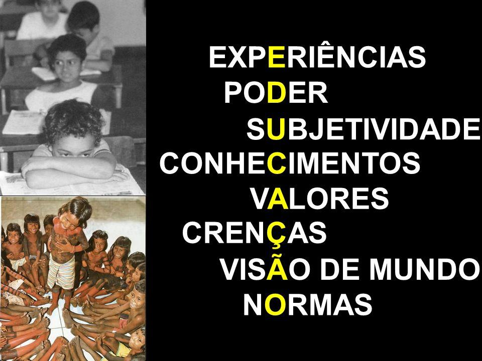 VALORES CRENÇAS VISÃO DE MUNDO SUBJETIVIDADE NORMAS CONHECIMENTOS PODER EXPERIÊNCIAS