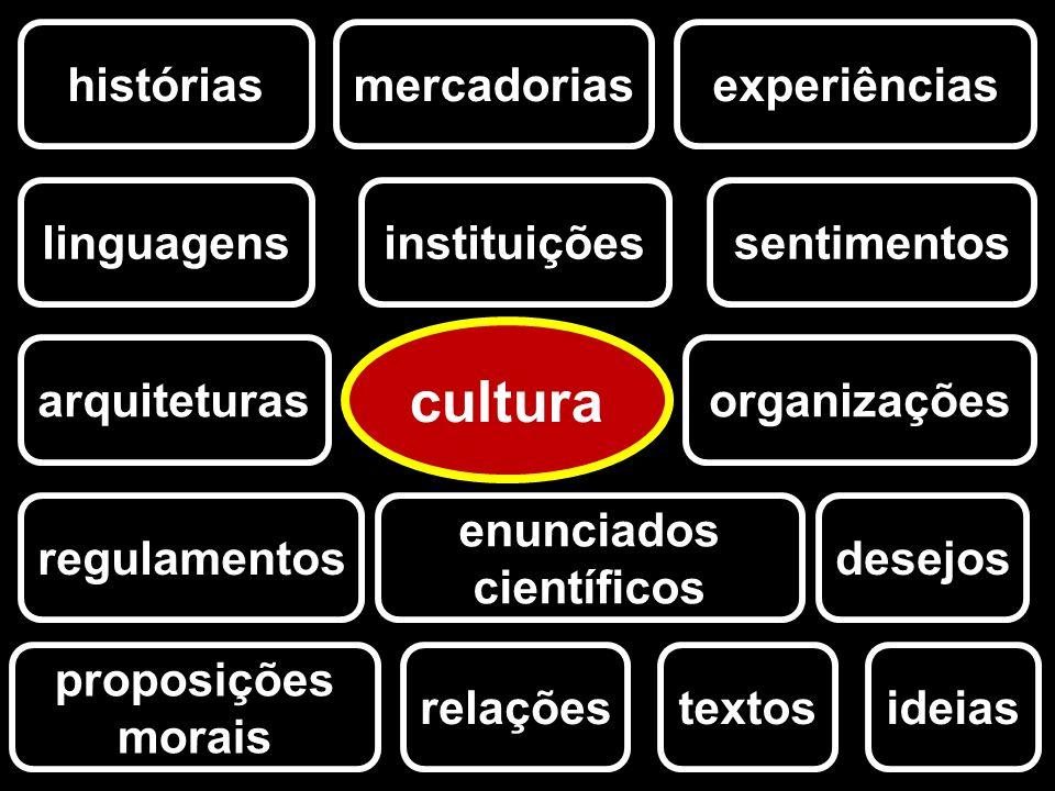 históriasexperiências ideias instituições arquiteturas linguagenssentimentos desejos relações proposições morais cultura textos mercadorias organizaçõ