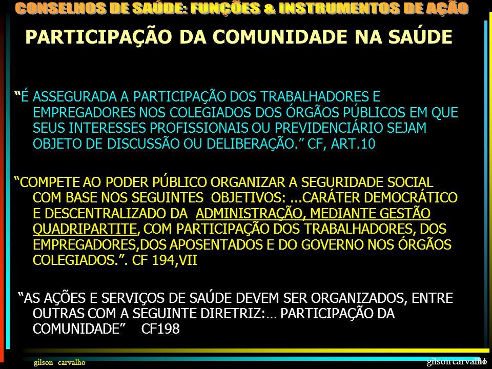 gilson carvalho 10 PARTICI- PAÇÃO DA COMUNIDADE NA SAÚDE