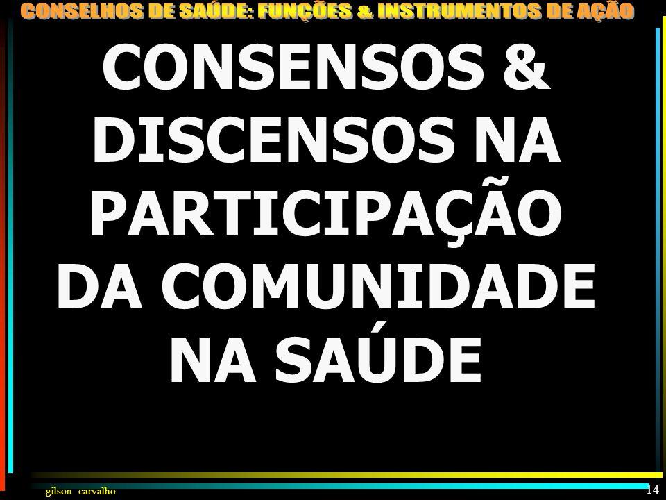 gilson carvalho 13 PARTICIPAÇÃO DA COMUNIDADE NA SAÚDE (LEI 8142) CONSELHOCONFERÊNCIA CRIADO POR LEI PARITÁRIO (50% USUÁRIOS E 50% GOV/PREST/PROFIS.)