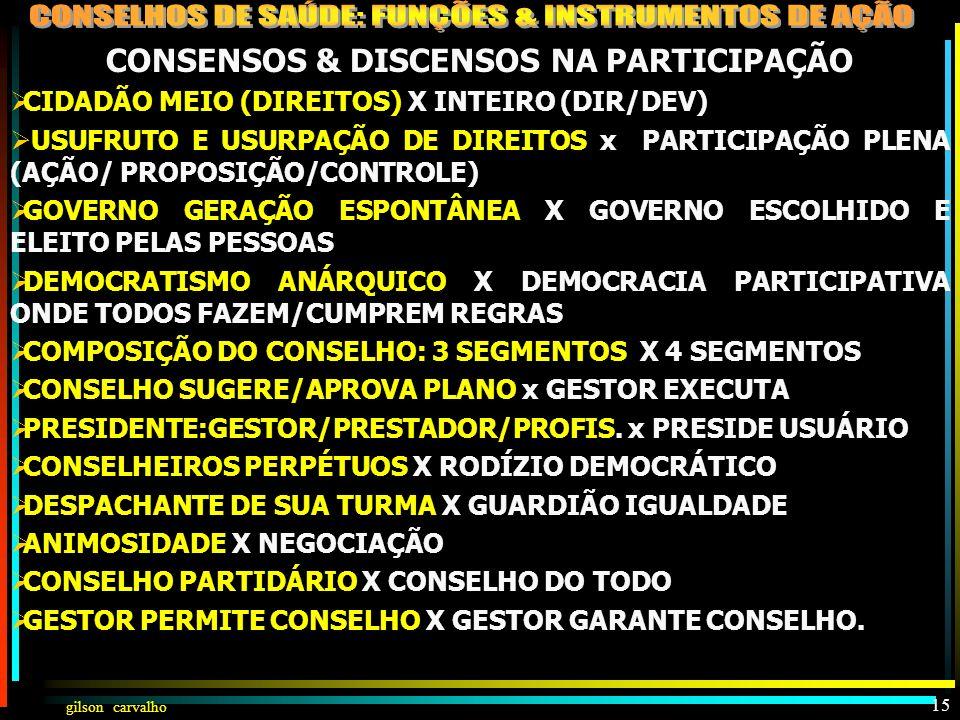gilson carvalho 14 CONSENSOS & DISCENSOS NA PARTICIPAÇÃO DA COMUNIDADE NA SAÚDE