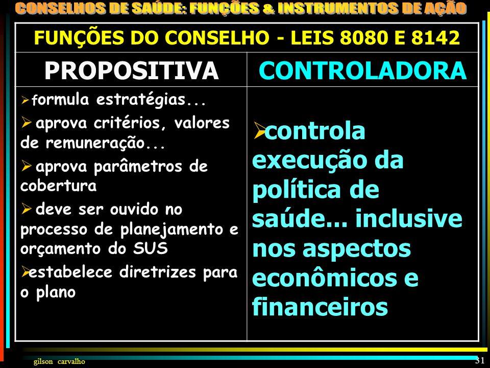 gilson carvalho 30 FUNÇÕES DO CONSELHO - LEIS 8080 E 8142 PROPOSITIVACONTROLADORA LEI 8142§ 2° O CS atua na formulação de estratégias LEI 8080, Art. 2