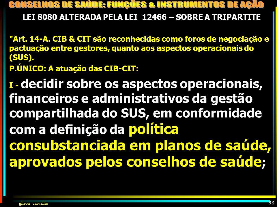 gilson carvalho GILSON CARVALHO 37 CONSELHO DE SAÚDE NOS NOVOS DOCUMENTOS LEGAIS: LEI 8080 (CIT) DEC.7508 LC 141