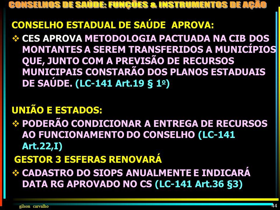 gilson carvalho 43 CS SERÁ MANTIDO INFORMADO: DOS MONTANTES DAS TRANSFERÊNCIAS FEDERAIS A ESTADOS E MUNICÍPIOS (LC-141,17 § 3 o ) DOS MONTANTES DAS TR