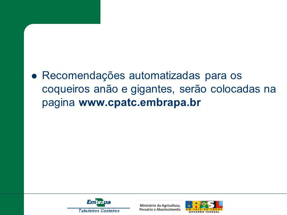 Recomendações automatizadas para os coqueiros anão e gigantes, serão colocadas na pagina www.cpatc.embrapa.br