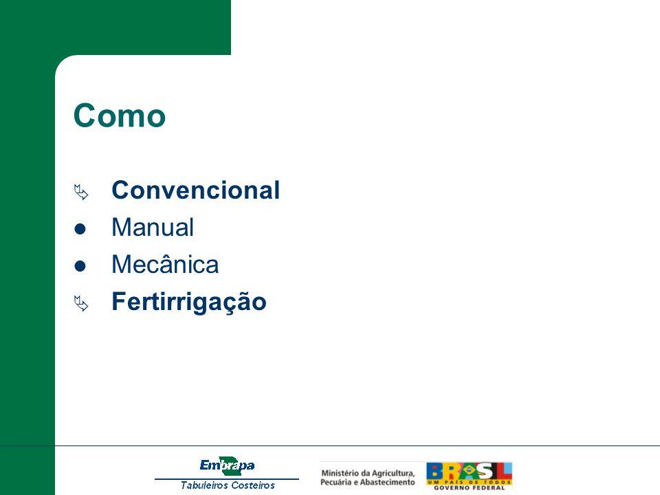 Como Convencional Manual Mecânica Fertirrigação