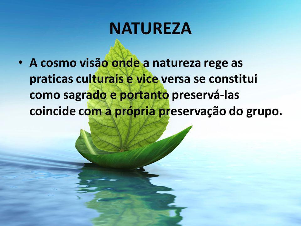 NATUREZA A cosmo visão onde a natureza rege as praticas culturais e vice versa se constitui como sagrado e portanto preservá-las coincide com a própria preservação do grupo.