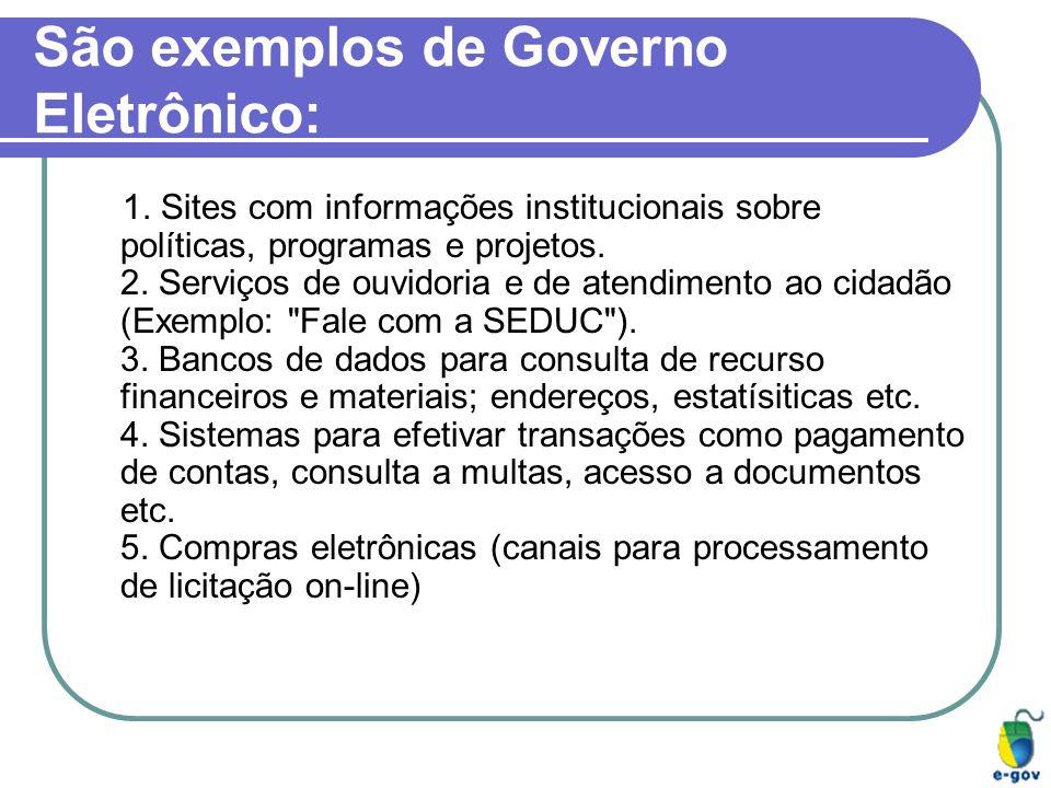 São exemplos de Governo Eletrônico: 1. Sites com informações institucionais sobre políticas, programas e projetos. 2. Serviços de ouvidoria e de atend