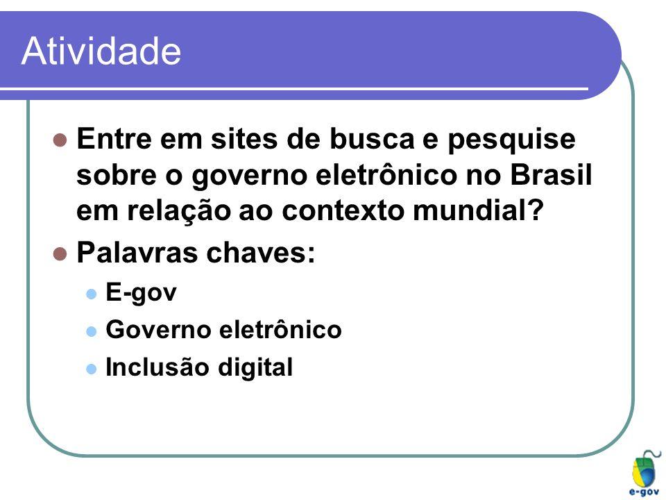 Atividade Entre em sites de busca e pesquise sobre o governo eletrônico no Brasil em relação ao contexto mundial? Palavras chaves: E-gov Governo eletr