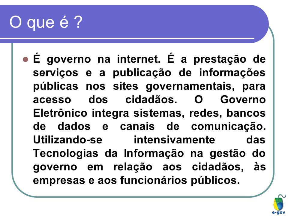 O que é ? É governo na internet. É a prestação de serviços e a publicação de informações públicas nos sites governamentais, para acesso dos cidadãos.