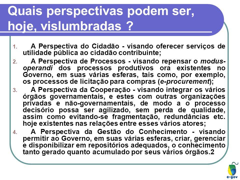 Quais perspectivas podem ser, hoje, vislumbradas ? 1. A Perspectiva do Cidadão - visando oferecer serviços de utilidade pública ao cidadão contribuint