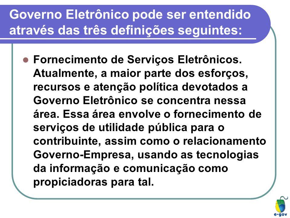 Governo Eletrônico pode ser entendido através das três definições seguintes: Fornecimento de Serviços Eletrônicos. Atualmente, a maior parte dos esfor