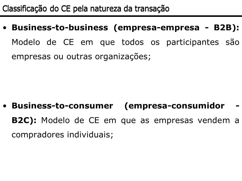 Business-to-business (empresa-empresa - B2B): Modelo de CE em que todos os participantes são empresas ou outras organizações; Business-to-consumer (em