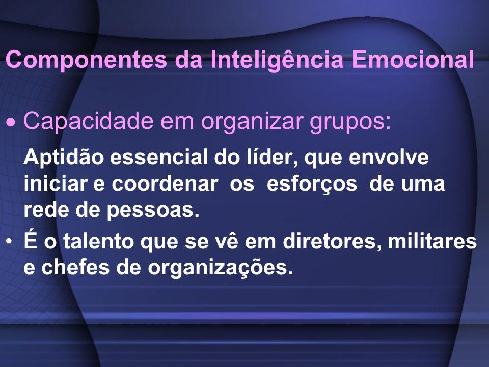 Componentes da Inteligência Emocional Capacidade em organizar grupos: Aptidão essencial do líder, que envolve iniciar e coordenar os esforços de uma r