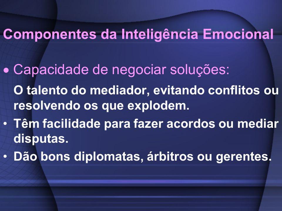 Componentes da Inteligência Emocional Capacidade de negociar soluções: O talento do mediador, evitando conflitos ou resolvendo os que explodem. Têm fa