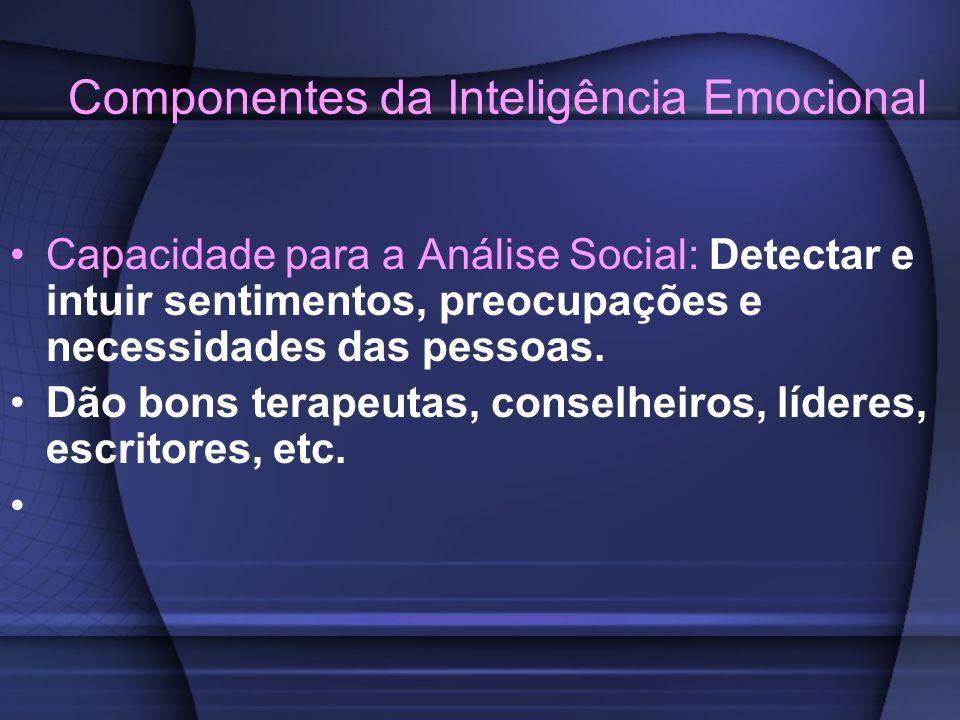 Componentes da Inteligência Emocional Capacidade para a Análise Social: Detectar e intuir sentimentos, preocupações e necessidades das pessoas. Dão bo