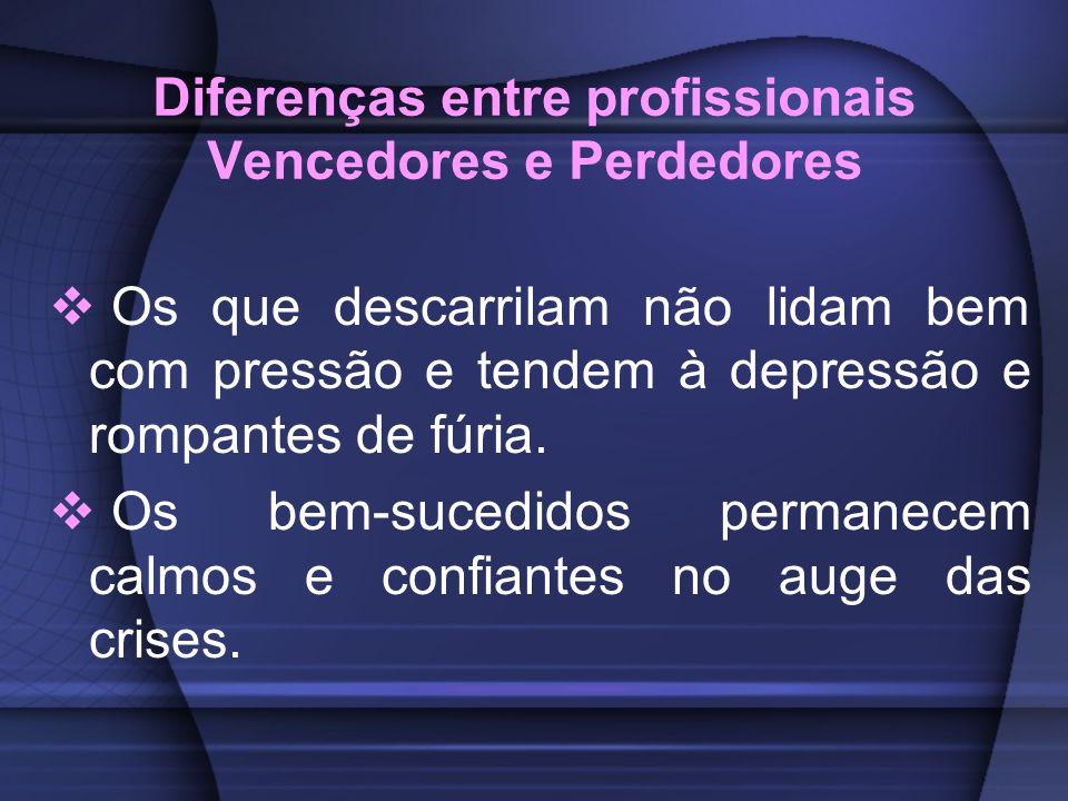 Diferenças entre profissionais Vencedores e Perdedores Os que descarrilam não lidam bem com pressão e tendem à depressão e rompantes de fúria. Os bem-