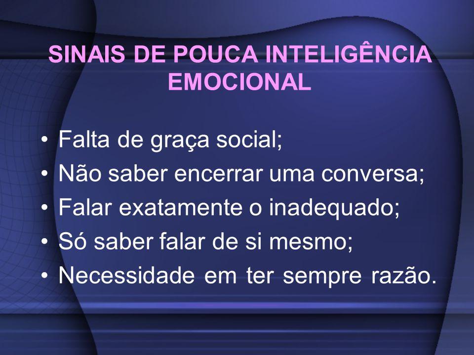SINAIS DE POUCA INTELIGÊNCIA EMOCIONAL Falta de graça social; Não saber encerrar uma conversa; Falar exatamente o inadequado; Só saber falar de si mes