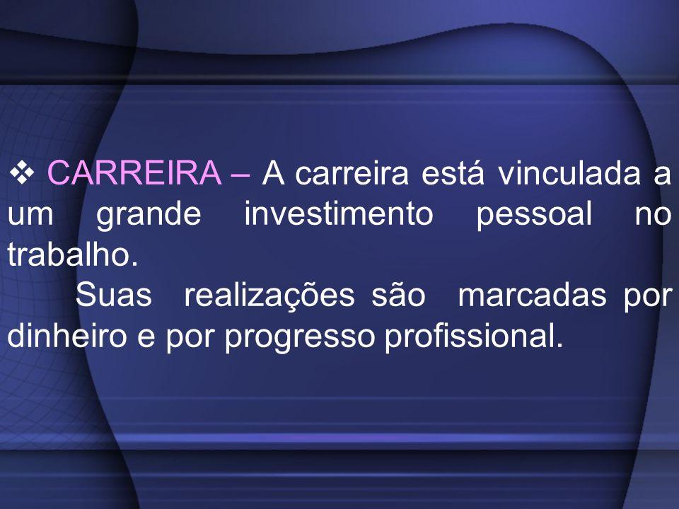 CARREIRA – A carreira está vinculada a um grande investimento pessoal no trabalho. Suas realizações são marcadas por dinheiro e por progresso profissi